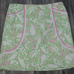 Lily Pulitzer mini skirt frog print Pockets